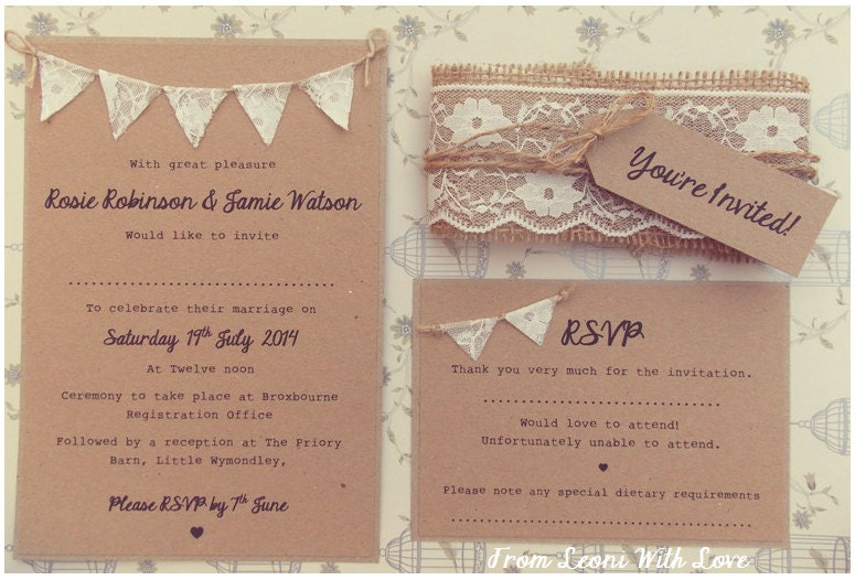 Bunting Wedding Invite: Lace Rustic Wedding Invitation Lace Bunting On Kraft Card With