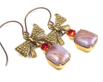 Mauve Bow Earrings, 1950s Vintage Jewels, One of a Kind Mothers Day Gift, Mauve Lilac Handmade Vintage Style Jewellery