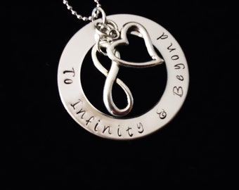 To Infinity and Beyond  hand stamped pendant with necklace - I love you - great gift - love to infinity