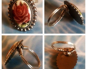 Antiqued Red Flower Button Ring