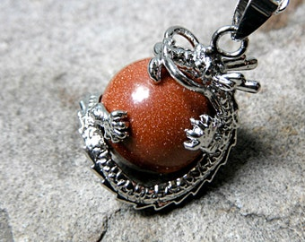 Chinese Dragon Necklace, Goldstone Necklace, Fantasy Jewelry, Orb Pendant Necklace, Orange Necklace