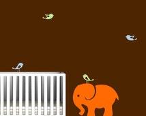Elephant Nursery Wall Decal with Cute Birds
