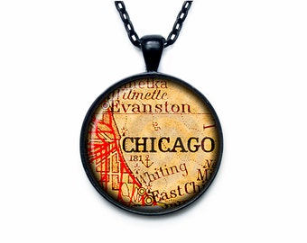 Chicago vintage map Pendant Chicago  vintage map Necklace Chicago  vintage map Jewelry old map
