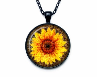 Sunflower pendant Sunflower necklace Sunflower jewelry nature necklace