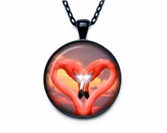 Flamingo pendant Flamingo necklace Heart from Flamingo jewelry nature necklace