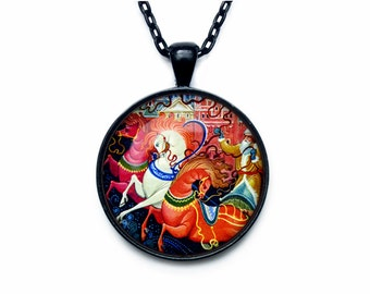 Christmas Necklace, Christmas Horse Jewelry, Russian Christmas Art Pendant