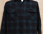 Vintage Pendleton Wool Shirt Plaid Tartan Men's Medium 1950's