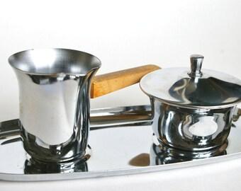 Mid Century Cream and Sugar Bowl Chrome Stainless Steel Hellerware USA Silver Creamer with Teak Wood Handle Danish Decor Tea Coffee Epsteam