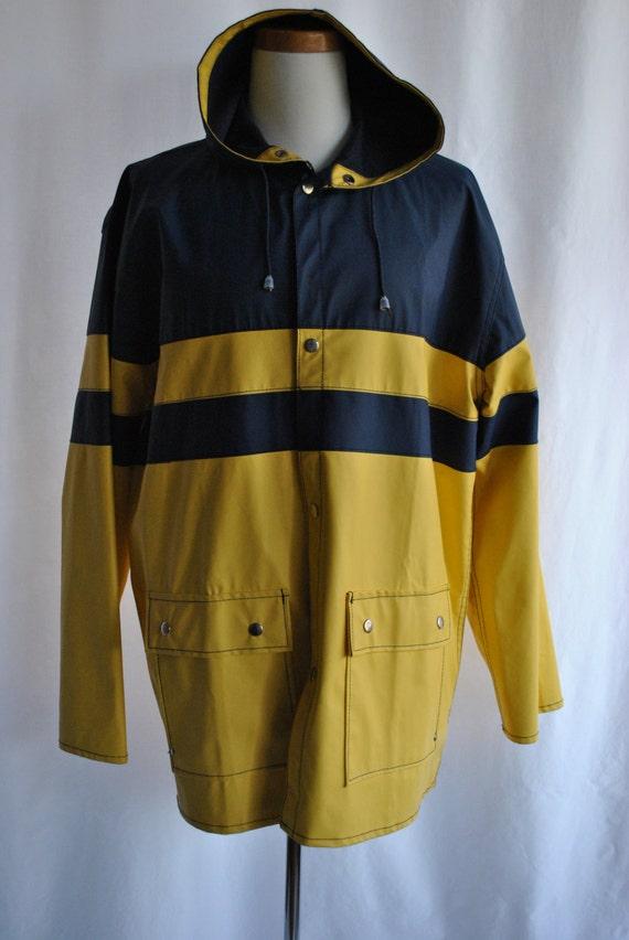 Vintage 80 S Mens Rain Slicker With Hood By Josephvintage