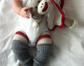 Sock Monkey Baby Legs/Leggings/Leg Warmers and Arm Warmers