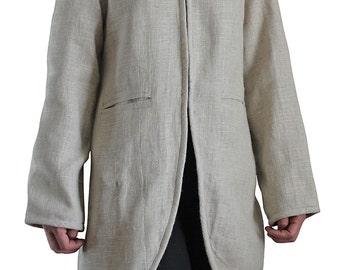 Soft Hemp Standing Collar Jacket with Linen-Cotton Lining (JGN-020-02)