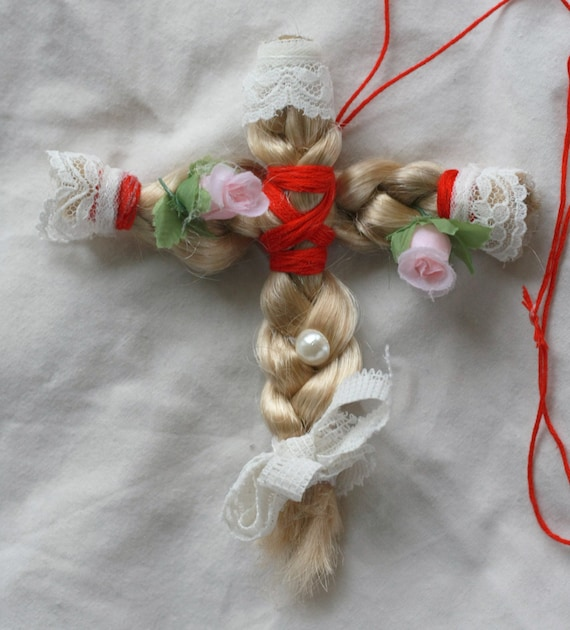 Cult Party Kei Braided Hair Cross Virgin Mary Necklace Lace roses