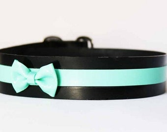 Latex Collar with Stripe and Micro Bow