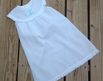 Custom Personalized Monogrammed White Ruffled Trim Nightgown...Also great for Beach Portraits