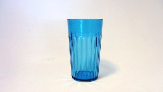 Vintage Clear Blue Small Plastic Cup Child Size Or Juice Cup