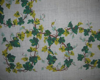 Simtex Tablecloth,Trailing Ivy Design, Cotton Rayon Cloth, Country Kitchen Decor, Patio Picnic Linen, Hand Printed Cloth, Housewarming Gift