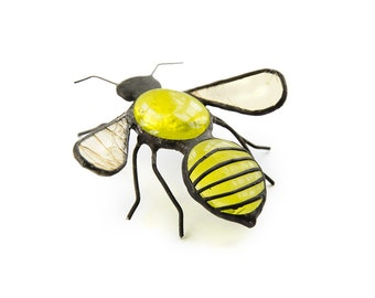BIG stained glass bee bug home decor yellow black