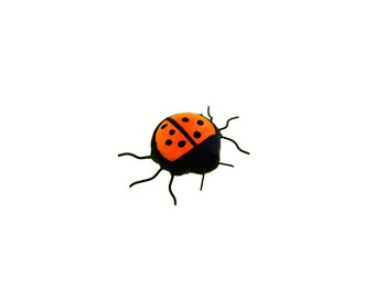 SMALL ladybird stained glass bug beetle suncatcher home decor red black