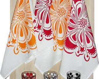 Tea Towel - hand screen printed - eco friendly inks - assorted colours - cotton - TIC Floral design