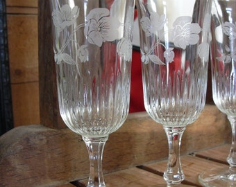 Set of 4 Antique French champagne flutes, French engraved glassware.