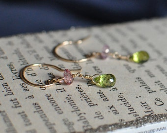 Mystic Pink Topaz and Peridot Wire Wrapped Earrings