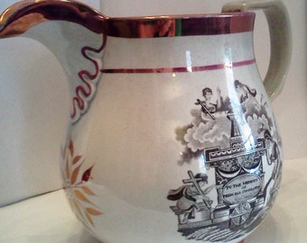 British Royalty Commemorative- Princess Charlotte Pink Lustre Pitcher 1817-The Death of a Forgotten Princess