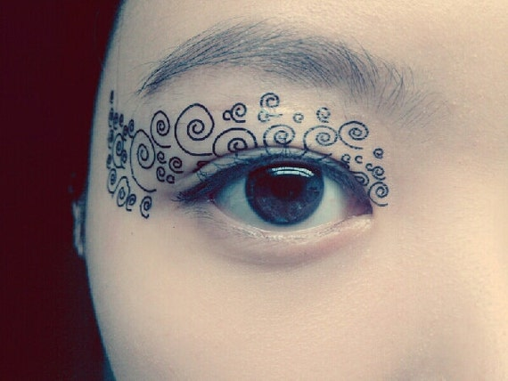 Temporary tattoo makeup eyeshadow spiral curve steampunk for Eye temporary tattoo makeup