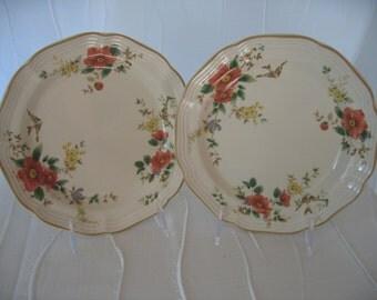 "Mikasa Capistrano Pattern 8"" Salad or Dessert Plates, 12 Available, Vintage 1980s Floral Swallows Bird Motif  Dinnerware"