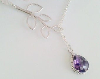 Amethyst purple necklace,weddings jewelry,bridesmaid gift,purple necklace,mothers day gift for mom,bridal necklace