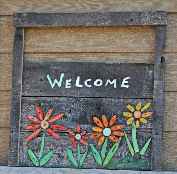 Items Similar To Reclaimed Wood Welcome Home Sign Hand Painted Rustic Wall Decor Outdoor Entry