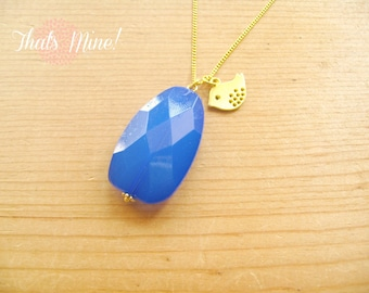 Cobalt Blue with little bird charm necklace on gold chain