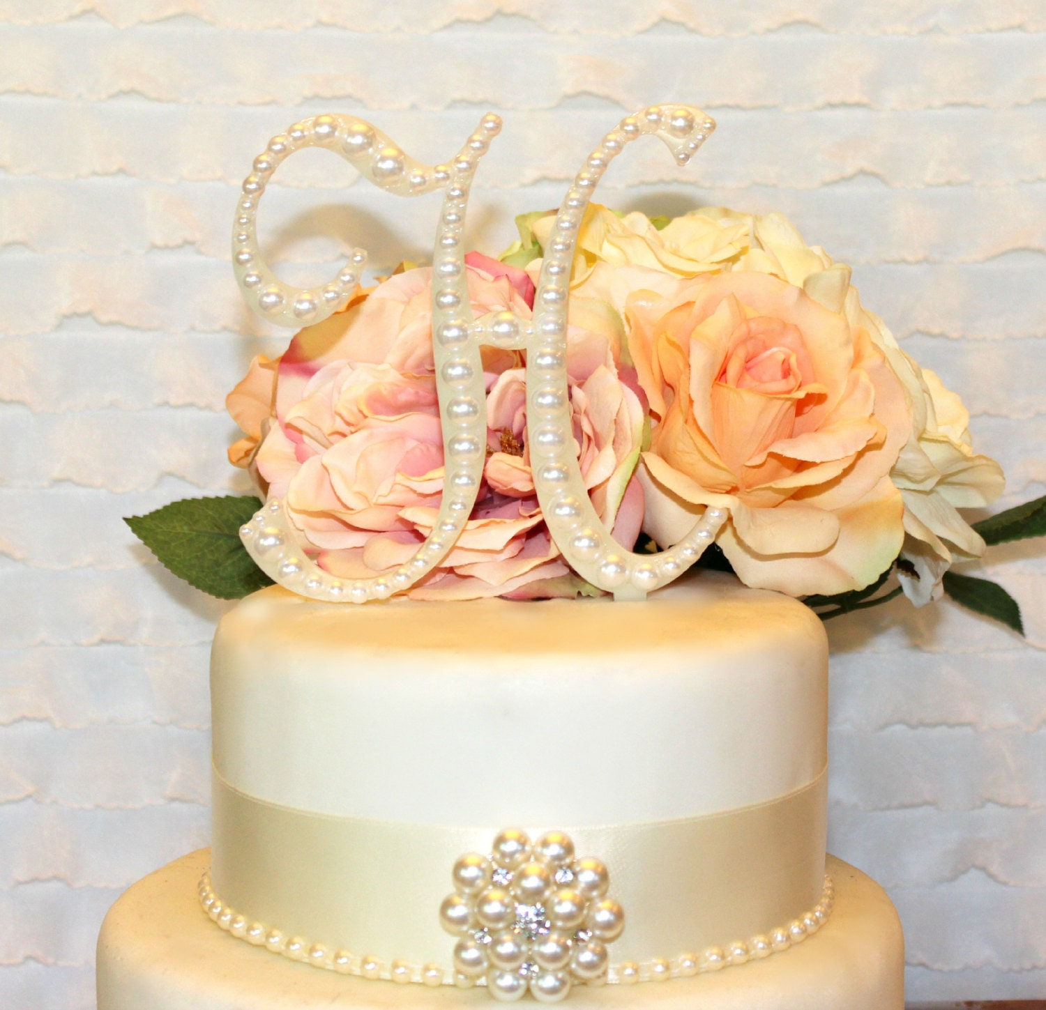 5 Pearl Monogram Vintage Style Wedding Cake by InitialMoments