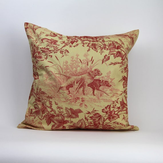 RED TOILE PILLOW cover red and gold pillow 20x20 red and