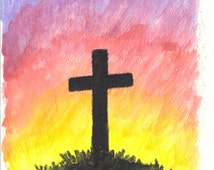 Easter Cross Card - Original watercolor Cross painting on a greeting card