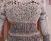 White & Heathery-Gray Feathery-Fray Hand-Knit Sweater