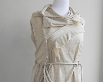 ECHO III Tunic Blouse Top Vest Avant Garde Quirky Transformative Asymmetrical - Adjustable- Plus Size Maternity- Ivory Cream Cotton Jersey