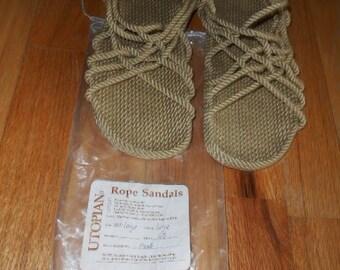Handmade Utopian Rope Sandals -Beige/Tan  Size 8  and 1/2  Men
