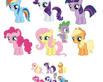 "My Little Pony Removable Wall Decal Sticker Set 7.5"" Inches Tall with Free mini sticker set"
