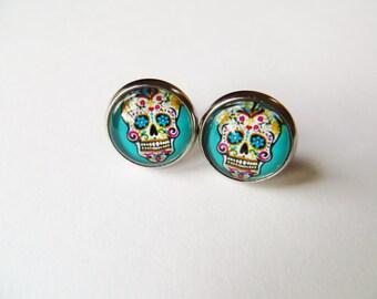 Mexican skull earrings, day of the dead, skull jewellery,silver plated stud earrings