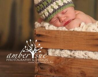 Ready To Ship Newborn Baby Boy Splash of Color Hat Crochet Photo Prop Galilee