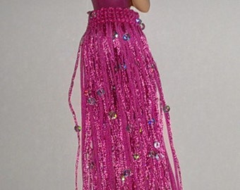 tassel porcelain flat half doll with 6 inch pink sequin fringe gift under 50