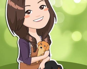 1-Person Custom Cartoon Portrait
