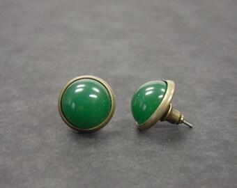 Earrings green bronze