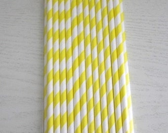 25 Paper Straws - Yellow Stripes