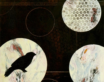 """Birds and orbs. Mysterious and richly colored, oil based ink ORIGINAL MONOPRINT -""""Circled Bird"""".   14"""" x 11"""". Free U.S. shipping."""