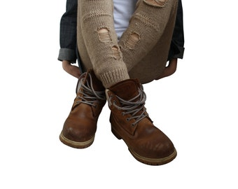Milky Brown Knitted Stretch Tight  Pants Ripped Leggings Legwarmer