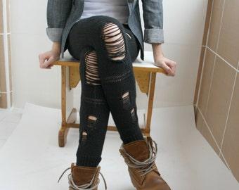Black Knitted Stretch leggings  Pants Ripped Tight Legwarmer