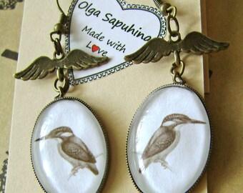 Earrings . Vintage  earrings with birds , dangle earrings . Earrings with birds . Jewelry with birds . Nature . Birds