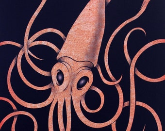 Small Squid painting / Original painting of a squid on panel