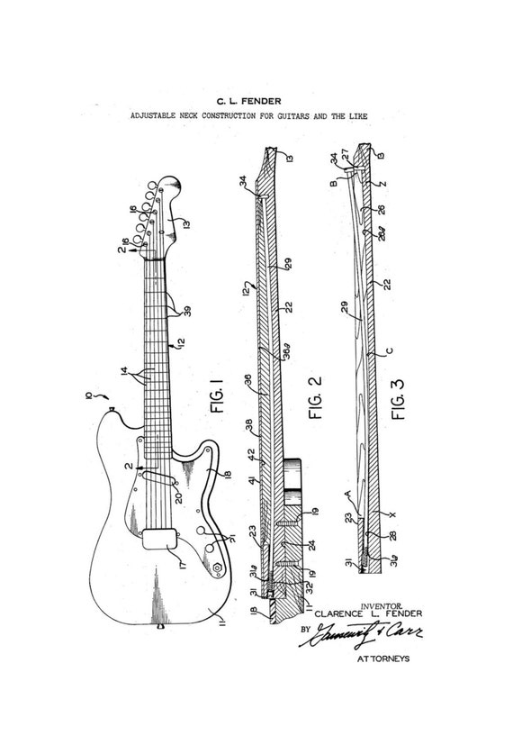 items similar to fender stratocaster guitar 1960 u0026 39 s patent